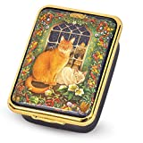 Halcyon Days,June's Cat at Christmas Enamel Box w/Inside Inscription, 24K Gold Fittings, Halcyon Gift Box
