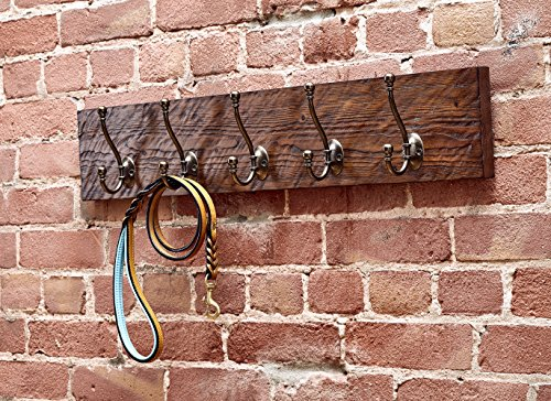 Rustic Style 5-Hook Wooden Coat Rack, Distressed Dark Brown with Aged Brass Hooks, Solid Wood, Wall Mounted, Vintage Entryway Coat Rack, Large, 30'' x 5.5'' by Bleecker Station (Image #1)