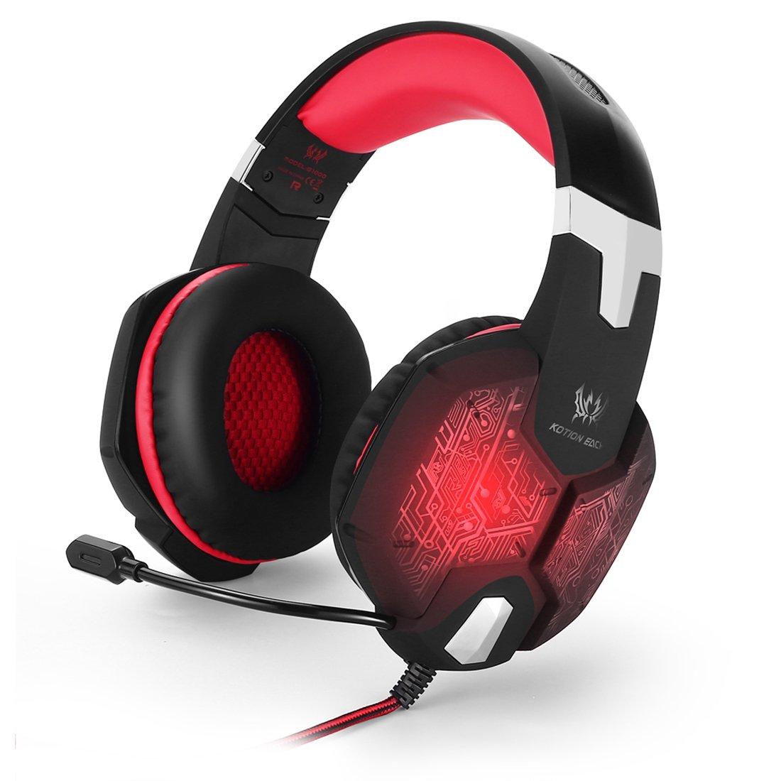 KOTION EACH G1000Diadema 3.5mm Bass Stereo Gaming Headset Auriculares de juego de PC Auriculares de diadema con micrófono Luz LED Respiración colorida para ordenador portátil Black-Red