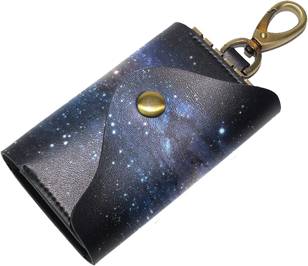 KEAKIA Galaxy Leather Key Case Wallets Tri-fold Key Holder Keychains with 6 Hooks 2 Slot Snap Closure for Men Women