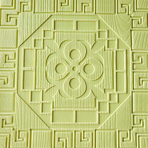 EOWEO Wall Sticker,3D Brick Wall Sticker Self-Adhesive Foam Wallpaper Panels Room Decal (60cmx60cmx0.7cm,Green)
