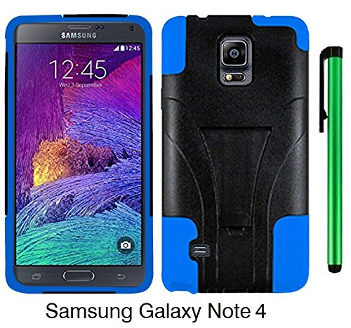 Samsung Galaxy Note 4 (2014 Fall Released; US Carrier: AT&T, Verizon, Sprint, and T-Mobile) 2 in 1 Phone Case - Premium Heavy Duty Dual Shield Hybrid Protector Case with KickStand + 1 of New Metal Stylus Touch Screen Pen (BLUE)