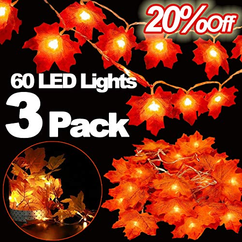 3 Pack Halloween&Thanksgiving Decorations Maple Leaves Fall Garland String Lights,30ft 60LED Waterproof Seasonal Light for Indoor Outdoor Decor Home Party Holiday Christmas (3pack fall garland lights) from TOPLEE