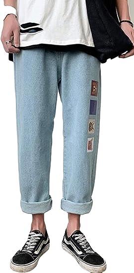 Alhylaデニムパンツ メンズ ゆったり カジュアル 九分丈パンツ 男性 プルオーバー ストレート メンズ パンツ 薄手 プリント柄 復古風 かっこいい