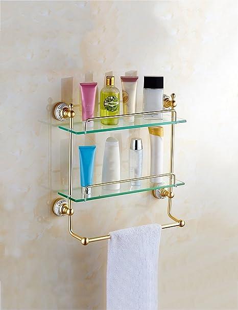 Baldas de baño Espacio de aluminio de estilo europeo de baño rack de cristal de maquillaje ...