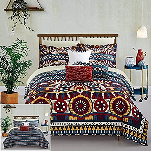 Chic Home 10 Piece Johannesburg REVERSIBLE Large Scale global tribal african inspired printed bed in a bag Queen Comforter Set Red ()