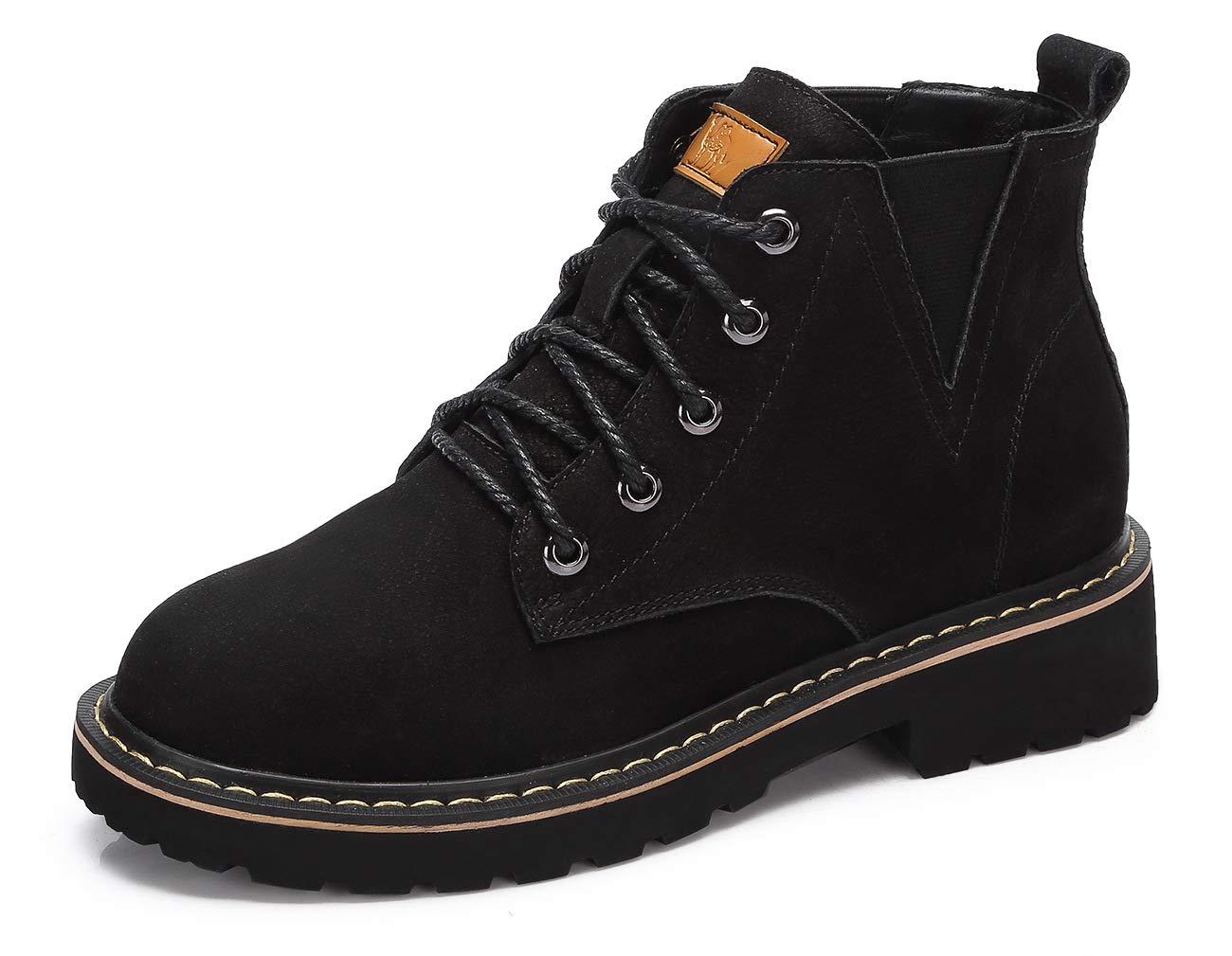 CAMEL CROWN Stiefeletten Damen Stiefel Leder Martin Boots Klassischer Schnürhalbschuhe Booties Warm Rutschfest Schwarz Khaki EU36-39