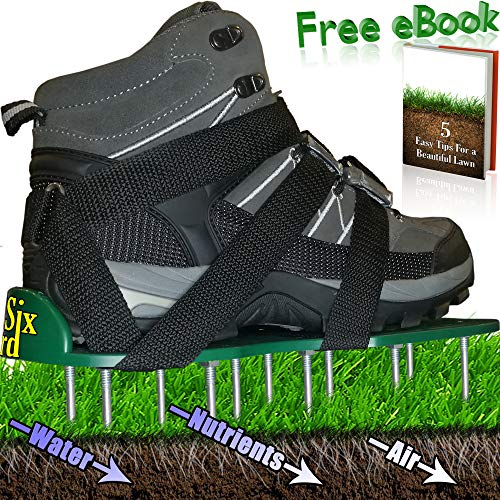 SixYard Lawn Aerator Shoes - Best Heavy Duty Sandals with Spikes and Metal Buckles - for Aerating Your Yard & Garden - Green and Healthy Grass with Strong Roots - Improved Design + Free eBook ()