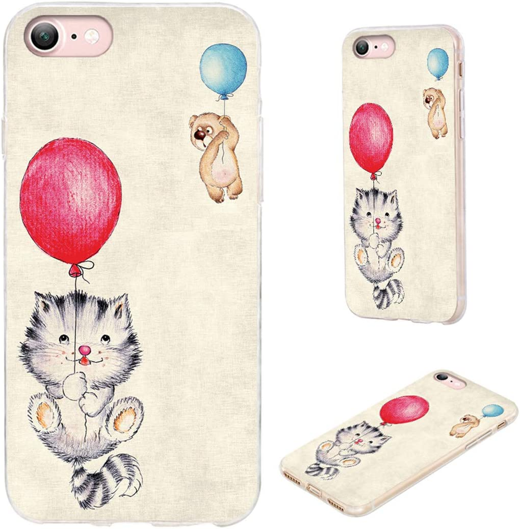 iPhone SE 2020 Case,iPhone 8 Case,iPhone 7 Case,VoMotec Shockproof Soft Rubber Full Body Protective Thin Phone Cover Cases Girly for iPhone SE 2020/7/ 8/ SE2 4.7,Cute Animal Bear Cat Flying Balloon