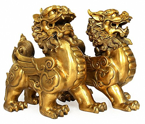 Feng Shui Set of Two Golden Brass Pi Yao/Pi Xiu Wealth Porsperity Figurine,Attract Wealth and Good Luck,Best Decoration for Office or Home ()