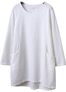 70823e1d8c79c Soojun Women s Embroidery Round Collar Pure Cotton Linen Top Blouses ...