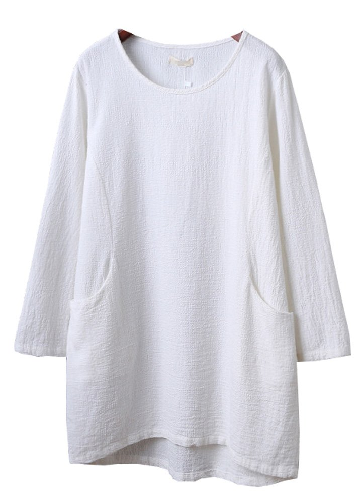Minibee Women's Cotton Linen 4/5 Sleeve Tunic/Top Tees (2XL, White)