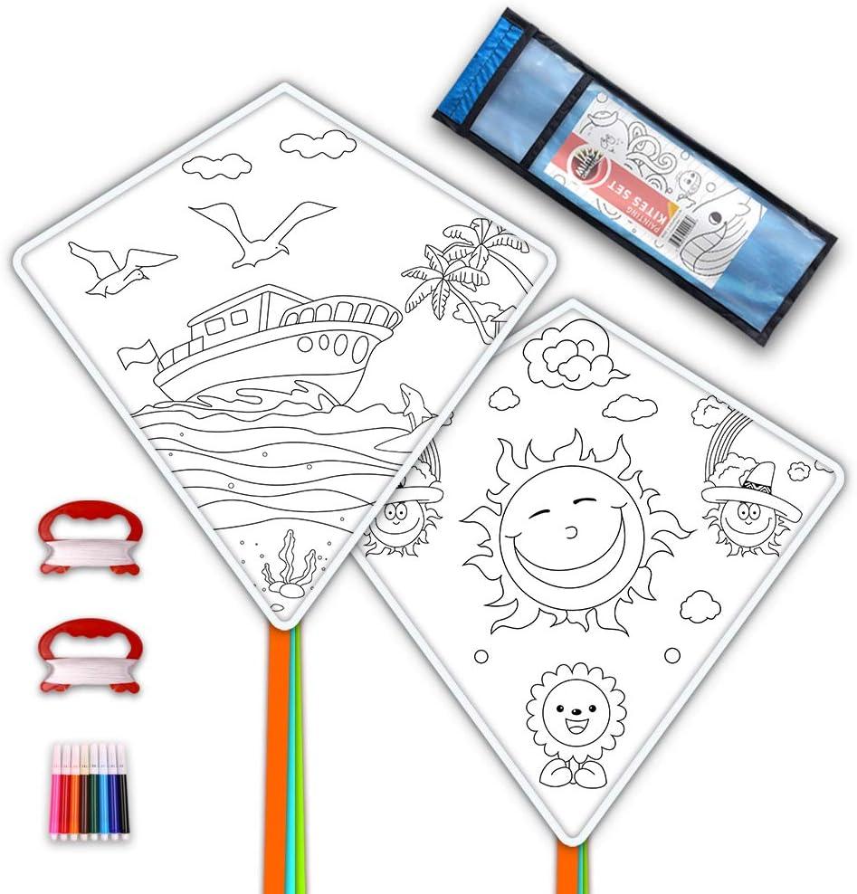 Decorating Coloring Kite Party Pack,White Diamond Kite Kits DIY Kites for Kids Kite Making Kit Bulk 2 Pack Ready to Color-Octopus Whale