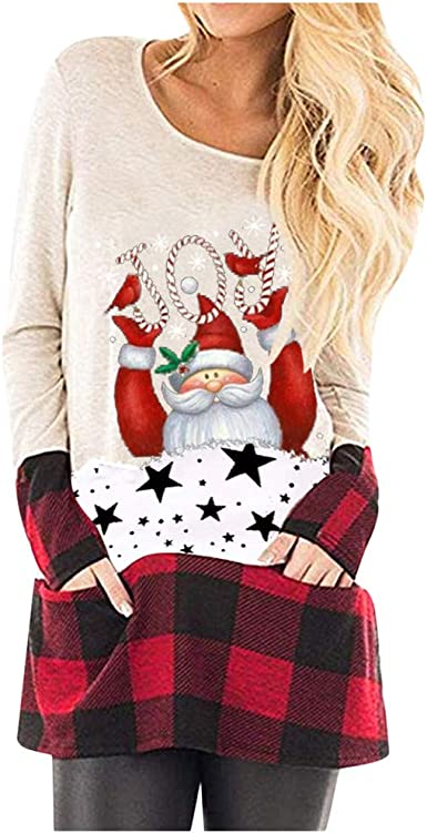 Hengshikeji Plus Size Baby Its Cold Outside Christmas T Shirt Women Long Sleeve Plaid Splicing Tops Blouse