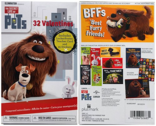 Red The Secret Life of Pets 32 Valentine Cards with Free 10x8 Poster and 35 Stickers