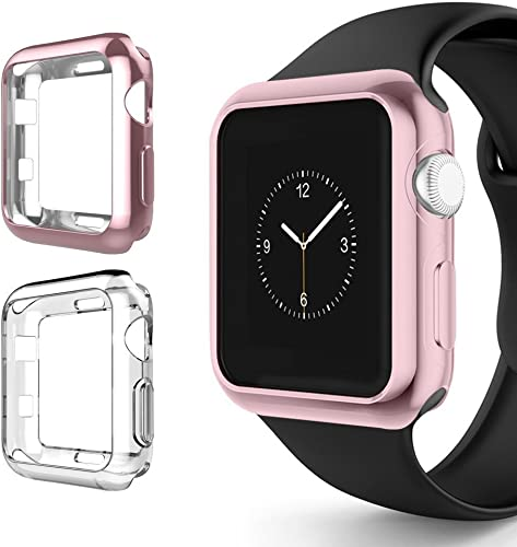 Chrome Clear Vivid Protection Case 2 Pack by Tech Express for Apple Watch Series 1, 2 3 Cellular LTE GPS Flexible Bumper Skin iWatch Gel Cover Protective Shockproof Rose Gold Clear, 42mm