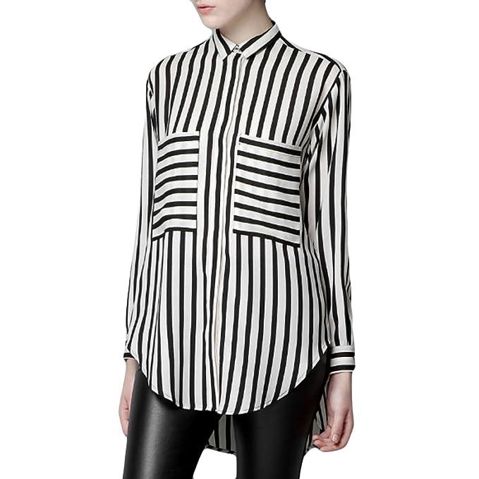 b69e2291e9139 LOCOMOLIFE Women Black White Big Pocket Vertical Horizontal Striped Long  Sleeve Blouse Shirt One Size (Small to Medium) FFD039: Amazon.co.uk:  Clothing