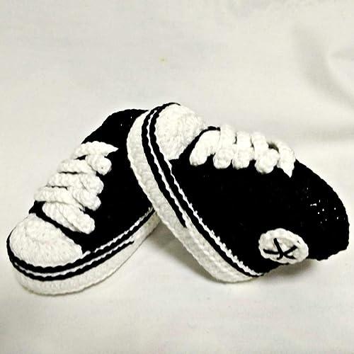 Patucos para Bebé Recién Nacido tipo Converse, 0-3 meses Negras. Handmade. Crochet. España: Amazon.es: Handmade