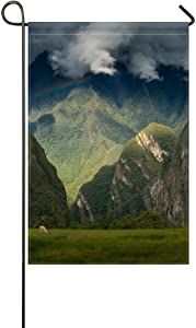 DongGan Garden Flag Machu Picchu Andes Peru Mountains Sky Inca Citadel 12x18 Inches(Without Flagpole)
