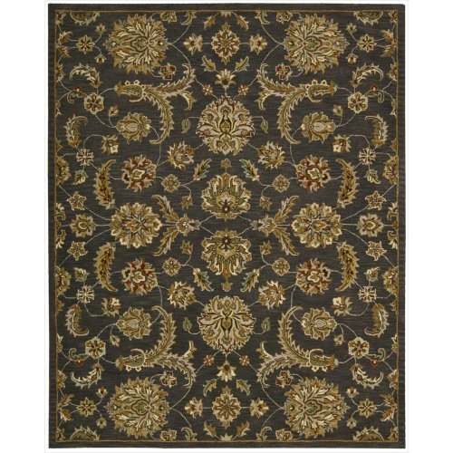 India House Black Rectangle Rug - Nourison India House (IH83) Charcoal Rectangle Area Rug, 8-Feet by 10-Feet 6-Inches (8' x 10'6