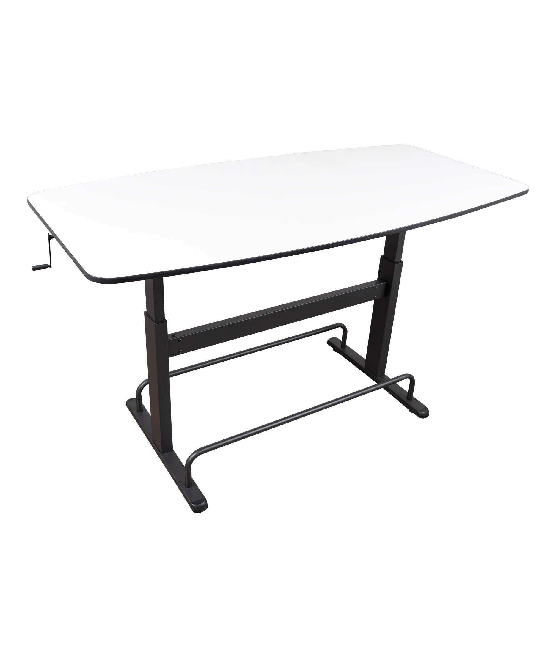 Crank Height Adjustable Standing Conference Table | Meeting Table | Collaboration Table | 72'' x 36'' (Charcoal Frame/Whiteboard Top) by Stand Up Desk Store