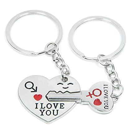 f7b2f3618a Amazon.com : SOSUO Love Key To My Heart Cute Couple Keychain Love Keychain  Key Ring : Automotive Key Chains : Office Products