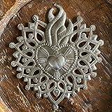 Sacred Heart, Small Decorative Milagro, Flaming