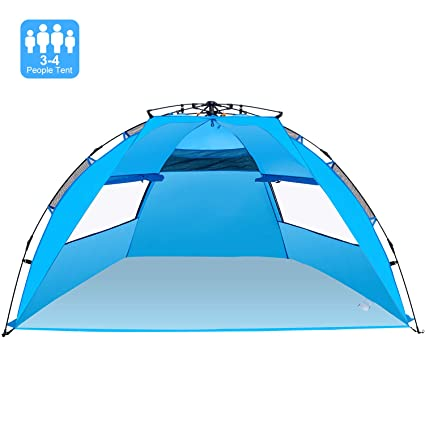 newest 091af 8e595 Victostar Easy Setup Beach Tent, Automatic Pop up Instant Sun Shelter with  UPF 50+ UV Protection for Family Outdoor Beach Camping (X-Large)