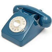 GPO 746 Rotary 70s - Teléfono fijo retro estilo 746 – Cordón rizado, anillo de campana auténtico