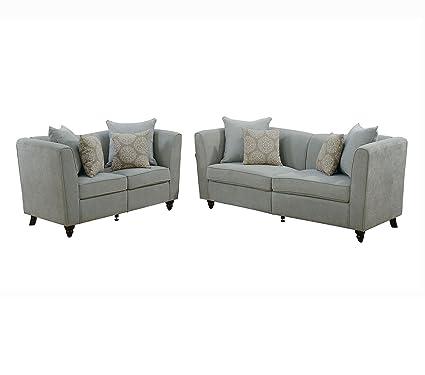 Marvelous Amazon Com Poundex F6898 Bobkona Obert 2 Piece Sofa And Creativecarmelina Interior Chair Design Creativecarmelinacom