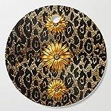 Society6 Wooden Cutting Board, Round, Animal Print Cheetah Triple Gold by saundramyles