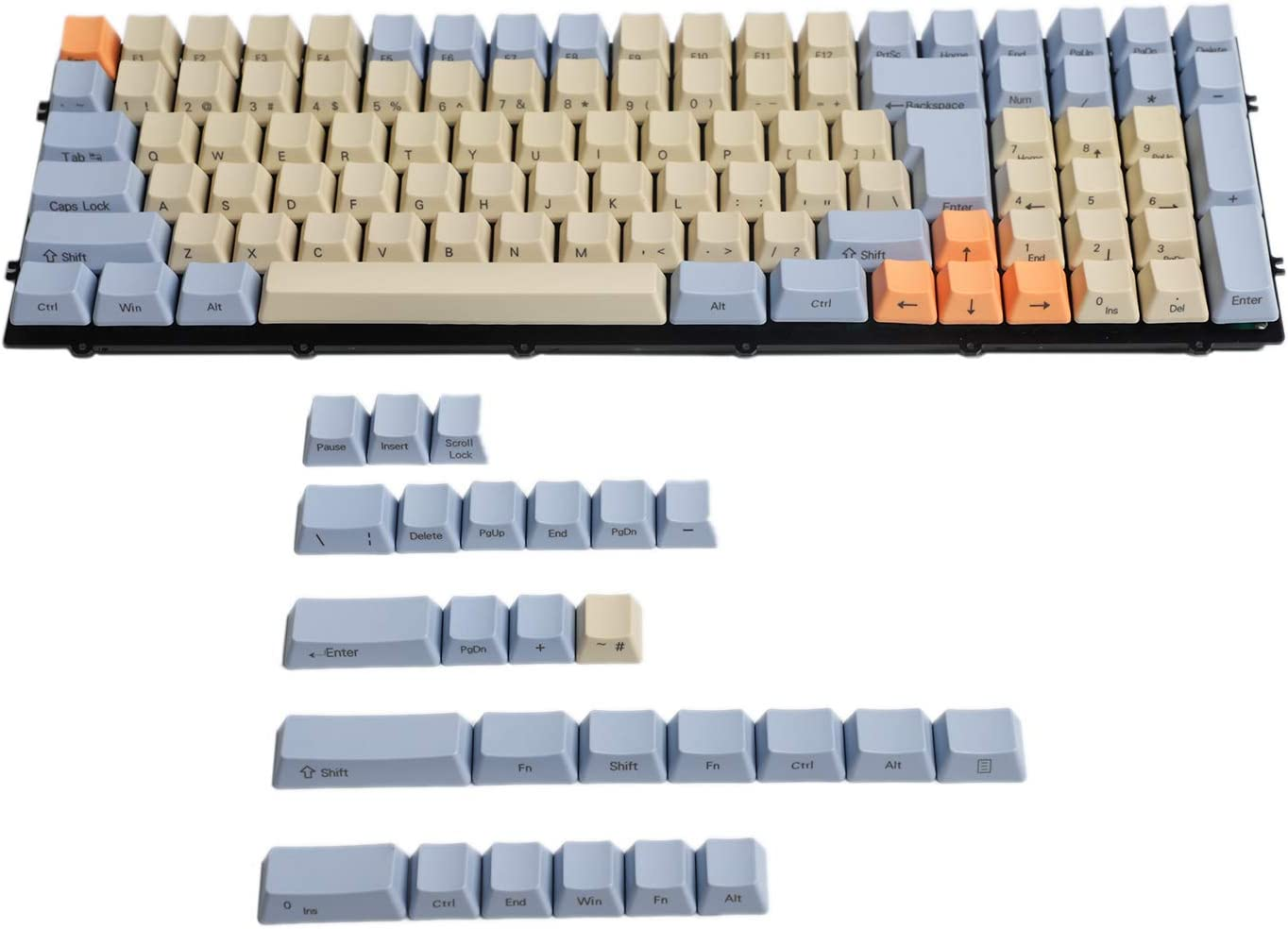 YMDK Blue & Beige OEM Profile Side Printed PBT Keycaps
