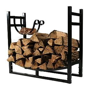 Sunnydaze Indoor/Outdoor Firewood Log Rack with Kindling Holder, Fireplace Wood Storage Stand, 33 Inch Wide x 30 Inch, Black