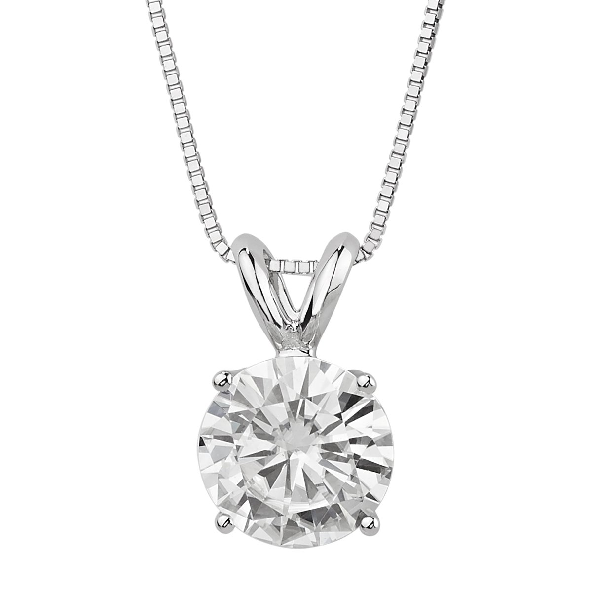 14k White Gold 6.5mm Round Forever Brilliant Moissanite Necklace 1.0ct DEW By Charles & Colvard