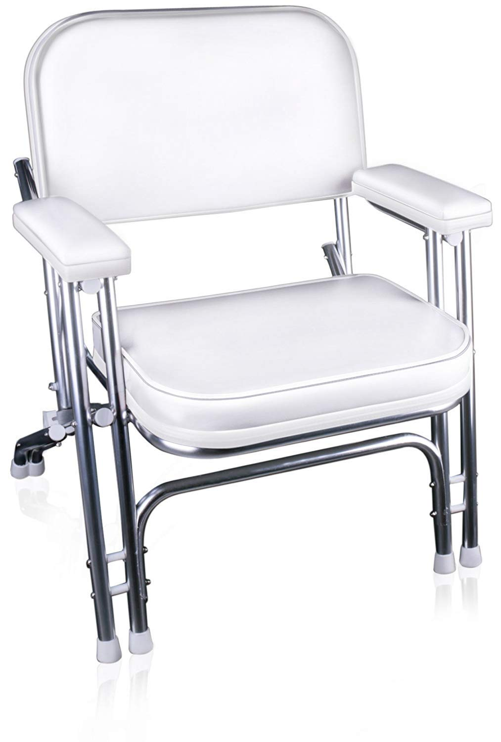 Leader Accessories Portable Folding Deck Chair with Aluminum Frame and Armrests (White) by Leader Accessories