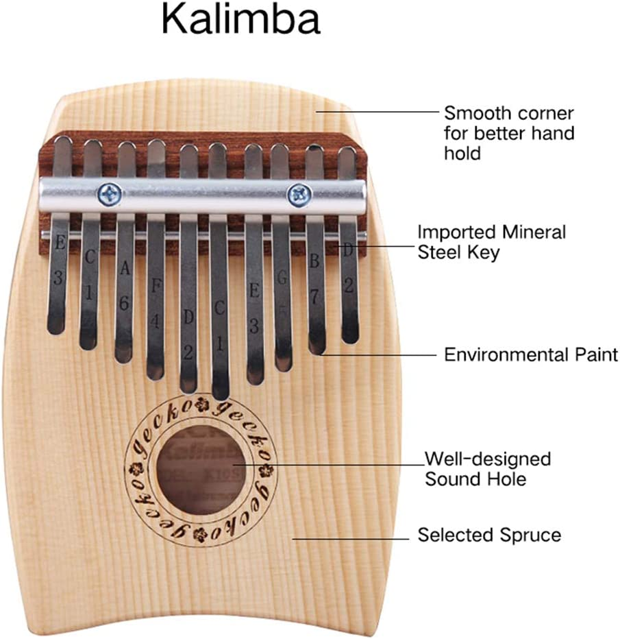MG.QING 10 Key Kalimba C Tone Thumb Piano Spruce Finger Musical Instrument Beginner Student