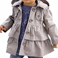 FEESHOW Baby Toddler Girl Spring Hooded Trench Coat Wind Jacket Kids Outerwear
