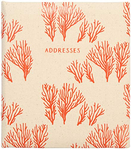 C.R. Gibson Beach House and Nautical Décor Tan and Pink Coral Refillable Large Address Book, 440 Entries, 6.5'' W x 7.25'' ()