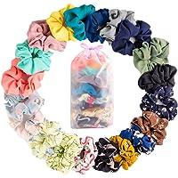 JiaDuo 20 Pack Chiffon Hair Scrunchies Elastic Hair Bands,Hair Accessories Ropes Scrunchies,Ponytail Holder Scrunchy Ties for Women & Girls