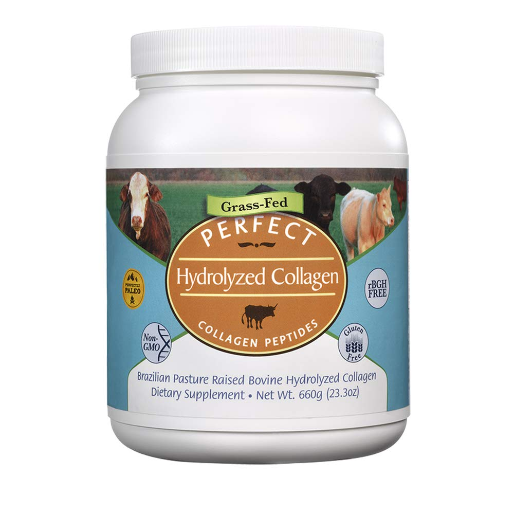 Perfect Hydrolyzed Collagen Peptides, from 100% Grass-Fed Brazilian Pasture Raised Cows, Large 660 Gram Container of Collagen Hydrolysate Powder, Highest Bioavailability by Perfect Supplements