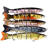 BOMSO 1pc Fishing Lure 6 Segment Lifelike Trouts Swimbait Multi Jointed Artificial Bait Crankbait Hard Bait High Carbon Steel Treble Hook