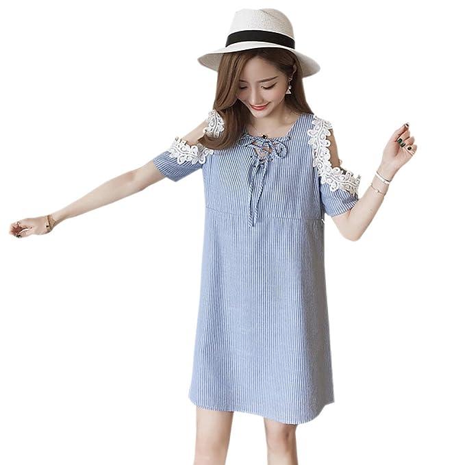 b6c716d98 ZEVONDA Embarazo Vestido Lactancia Mujer - Moda Elegante Encaje Premamá  Blusa Maternidad Camiseta Vestidos Verano
