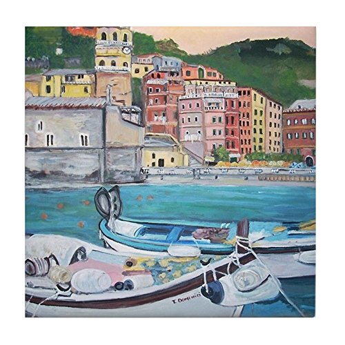 CafePress - Vernazza Harbor, Italy - Tile Coaster, Drink Coaster, Small -