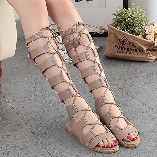 Sandales À Pour long Plat Ue bottes Rugai Fond Femmes Tube A3qc54LRj