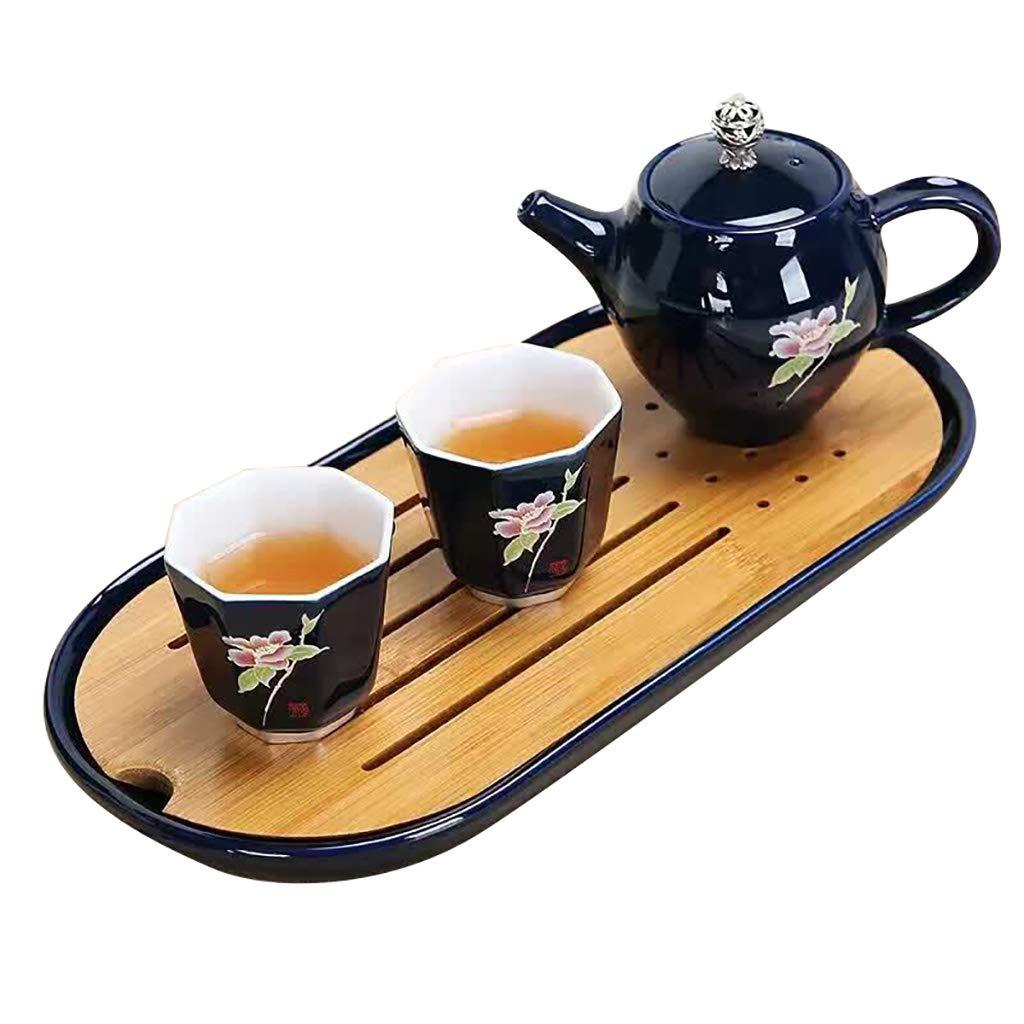 お茶セット、青釉セラミックポット一杯二杯楕円茶セットティーポット茶カップ茶道セット B07MKVXYKC