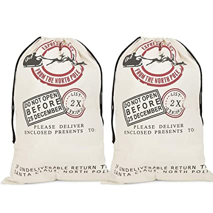 2 Pack Backpacks & Bags Christmas Fabric Reindeer Character Drawstring Totes