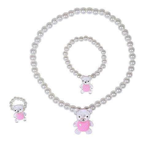 a8ff15c5a01e Collar de Joyas para Niñas - Collar Fornido de Cuentas de 3 Piezas con Oso  Lindo