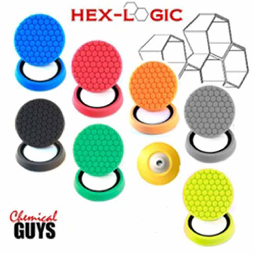 Chemical Guys BUF/_HEXKITS/_9ROTARY Hex-Logic Rotary Buffing Pad Everything Kit//Backing Plate//Pad Cleaner oz 16 fl 1 Pack