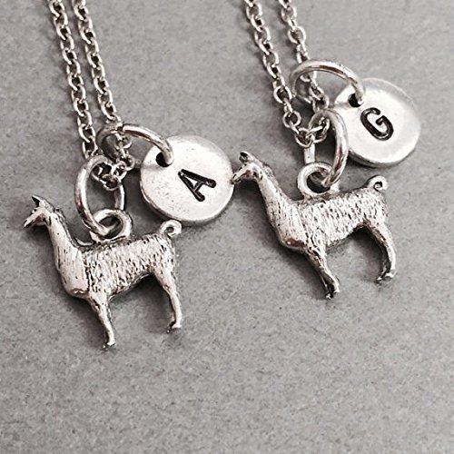 Best friend necklace, llama charm necklace, animal necklace, bff necklace, friendship necklace, sister necklace, friend necklace
