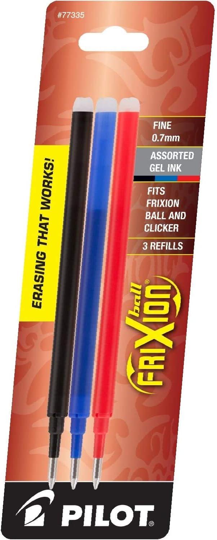 PILOT FriXion Gel Ink Refills for Erasable Pens -1 77335 Fine Point 3-Pack Black//Blue//Red Inks